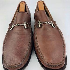 BARIONI SZ 9.5 Fine Soft Pebbled tan Leather loafe